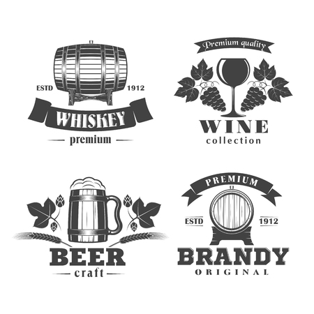 brandy: illustration set of alcohol signs labels and badges - beer, wine, whiskey, brandy, on a white background Illustration