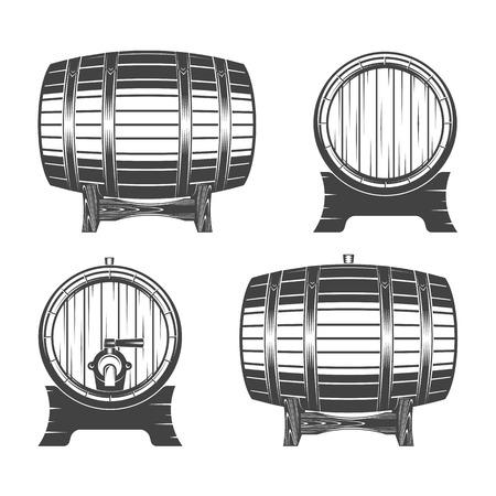 Barrel on a white background, illustration for menu, label and poster