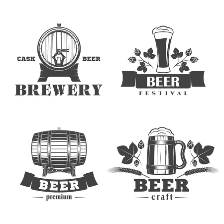 illustration set of beer signs, labels and badges, on a white background