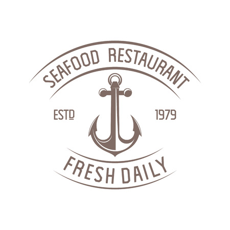 illustration emblem seafood restaurant on a white background with a picture of an anchor
