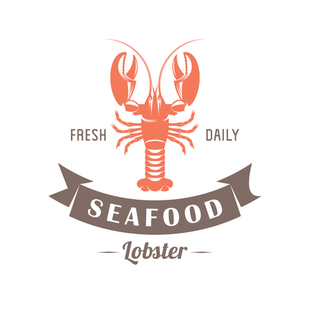 expensive food: illustration emblem seafood restaurant on a white background with a picture of an lobster