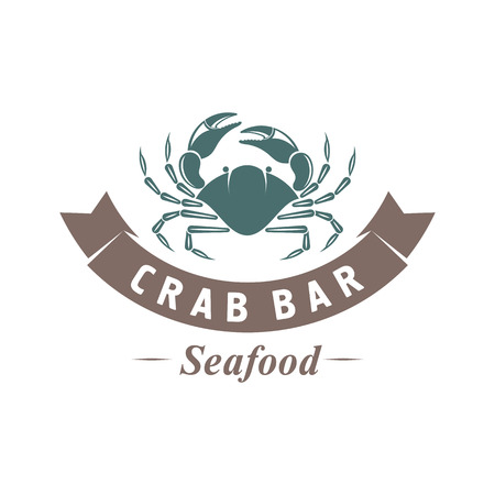 illustration emblem seafood restaurant on a white background with a picture of an crab