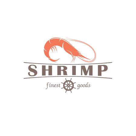illustration emblem seafood restaurant on a white background with a picture of an shrimp Ilustração