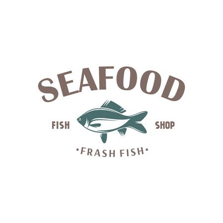 illustration emblem seafood restaurant on a white background with a picture of an fish isolated on white background Ilustração