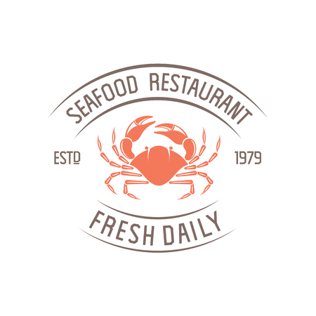 illustration emblem seafood restaurant on a white background with a picture of an crab isolated on white background