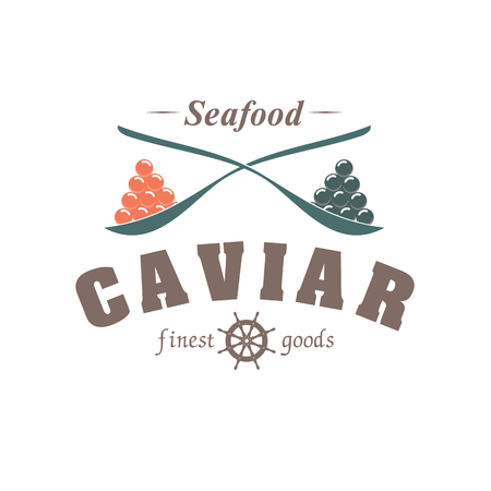 emblem fish caviar in spoon isolated on white background