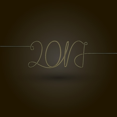 vector illustration Metallic gold rope Happy new year 2017 Text design