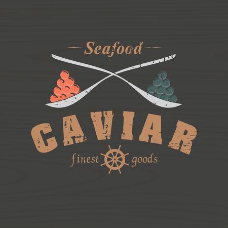 scratched vector emblem caviar on a wooden background Ilustração