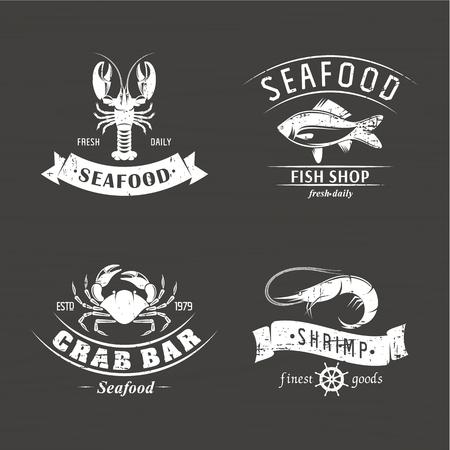 set scratched vector emblem seafood on a wooden background