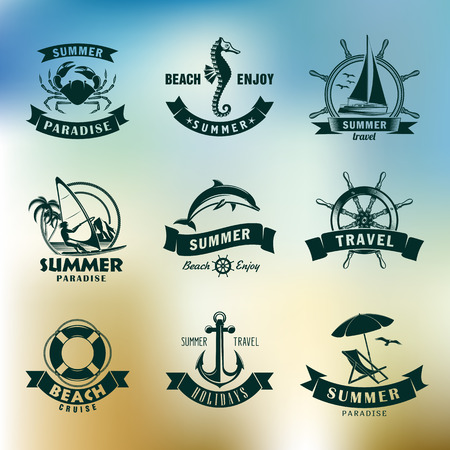 the summer and beach set of vector emblems