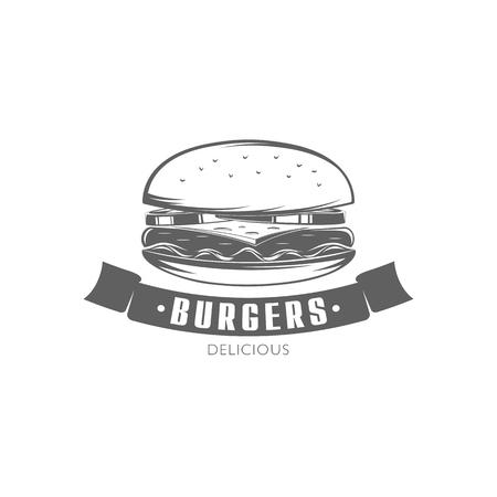 black and white vector emblem burger isolated on white background for menu design Ilustração