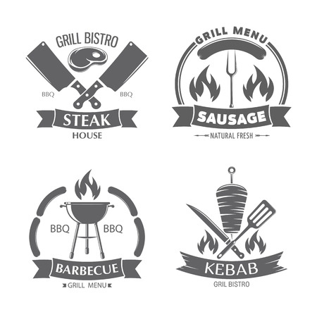 vector illustration set of badges on a theme, burger, hot dog, kebab and sandwich, on white background, for advertising and menu design