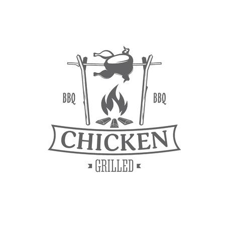 vector illustration barbecue badges, chicken emblem grilled roasted at the stake on white background Ilustração