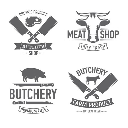 vector illustration set of badges on a theme, meat shop, butchery, on white background, for advertising and menu design