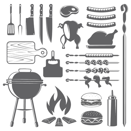 vector set of barbecue, meat and grill accessories, on white background, for advertising and menu desig Ilustração
