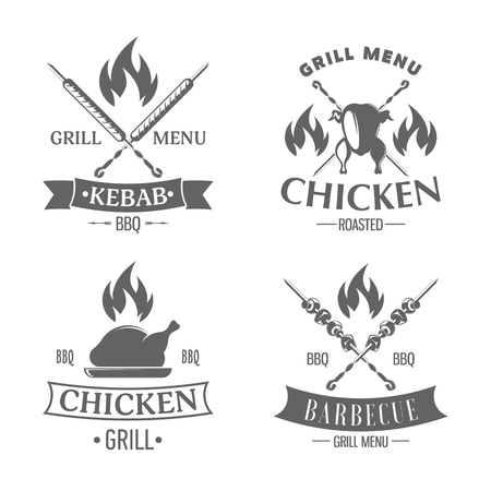 vector illustration set of badges on a theme, roasted chicken, kabab and grill, on white background, for advertising and menu design