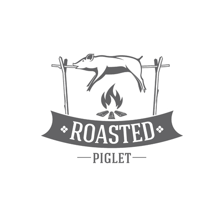 vector illustration barbecue badges, pig emblem grilled roasted at the stake on white background, for advertising and menu design