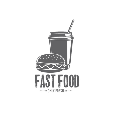 A vector fast food badges on plain background.