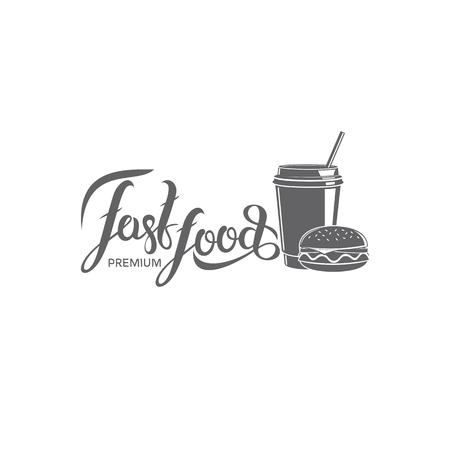 A vector fast food emblem on plain background. Ilustração