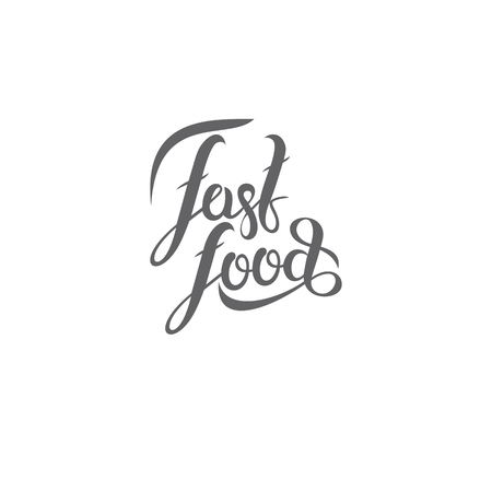 A vector hand lettering fast-food emblem on plain background. Ilustração