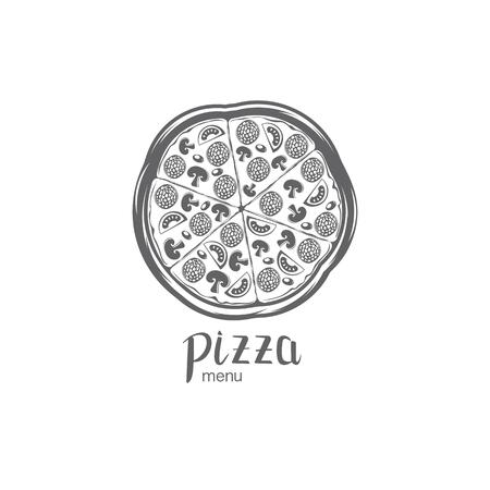 A vector Italian pizza on plain background.