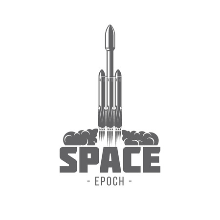 badges rocket vector illustration isolated of vintage monochrome style