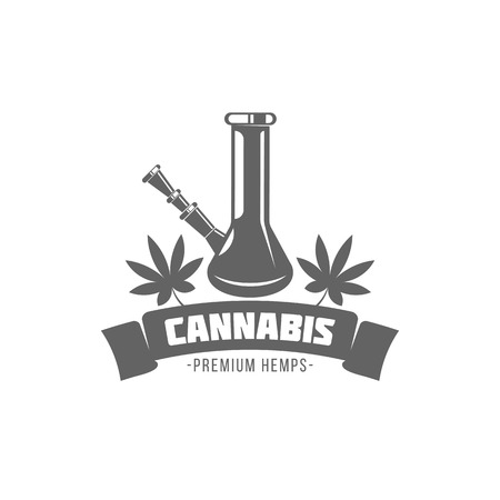 vector illustration badges bong and cannabis isolated of vintage monochrome style for advertising and web design Imagens