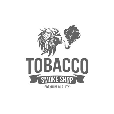 vector illustration badge tobacco isolated of vintage monochrome style for advertising and web design Ilustração