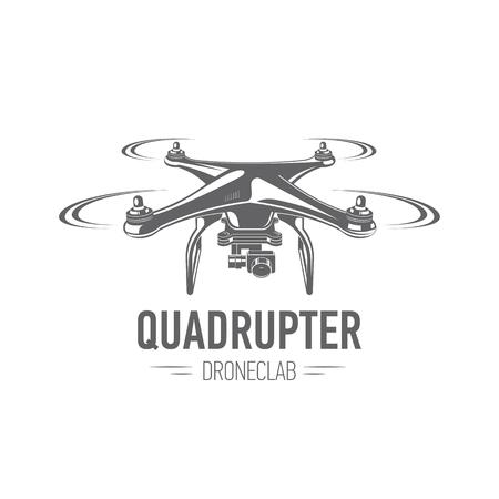 vector illustration quadrupter emblem isolated on white background, flat design, icon, black and white, drone, badges