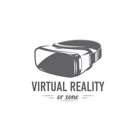 vector illustration virtual reality glasses isolated on white background, flat design, icon, black and white, VR Imagens
