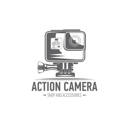 vector illustration action camera emblem isolated on white background, flat design, icon, black and white, badges