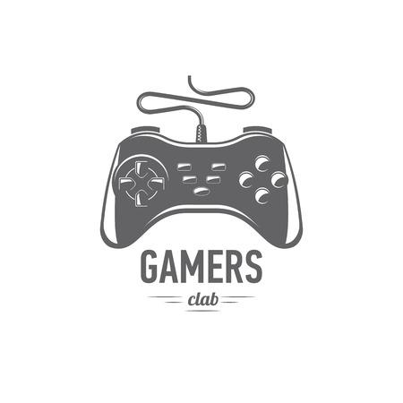 vector illustration gamepad emblem isolated on white background, flat design, icon, black and white, joystick, badges
