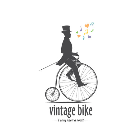 vector illustration retro bicycle emblem isolated on white background for design and advertising