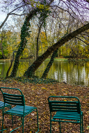 Hungary. Autumn day in Budapest. Empty benches