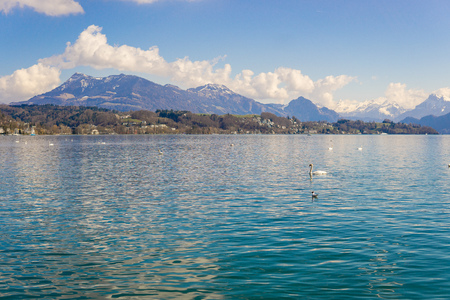 View of lake Lucerne with the view of mountains and Swiss Alps in the background, sunny day
