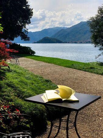 View above big beautiful lake, Como lake, Italy. Summer cloudy view. Archivio Fotografico