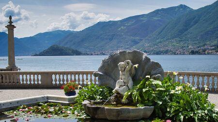Park Of Villa Melzi In Bellagio At The Famous Italian Lake Como, cloudy sky Standard-Bild