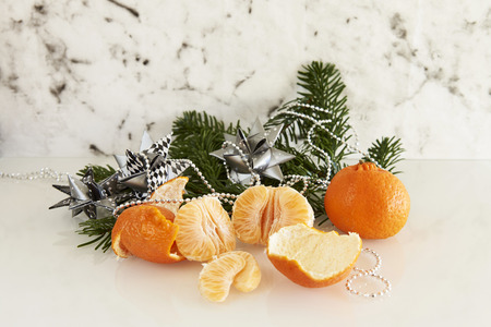 fir branch: fir branch with clementine and paper stars
