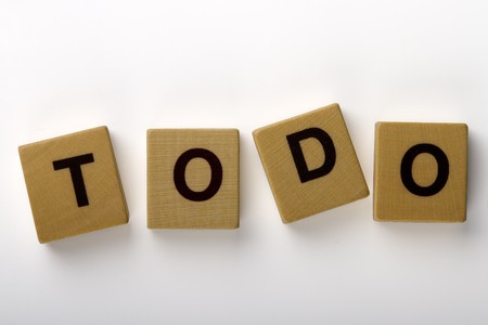 todo: Wood magnets spelling TODO Stock Photo