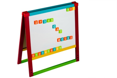 Childs whiteboard with colorful letters and numbers isolated on white photo
