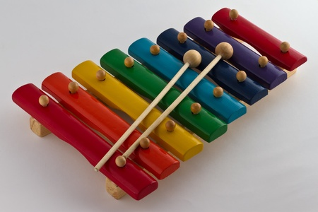 Colorful Wooden Xylophone on white background Stock Photo