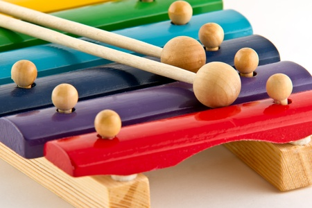 tuneful: Colorful Wooden Xylophone on white background Stock Photo