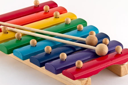 xylophone: Colorful Wooden Xylophone on white background Stock Photo