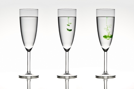 diffusion: Three beautiful glasses depicting diffusion in action.