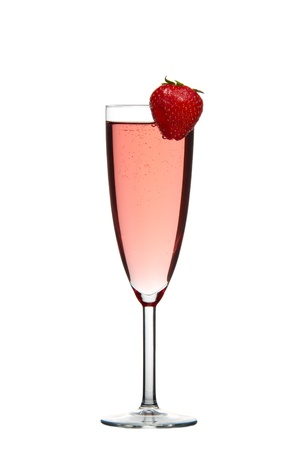 Sparkling red champagne drink with Strawberry isolated on white background photo