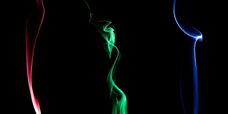 Red, Green and Blue colored smoke
