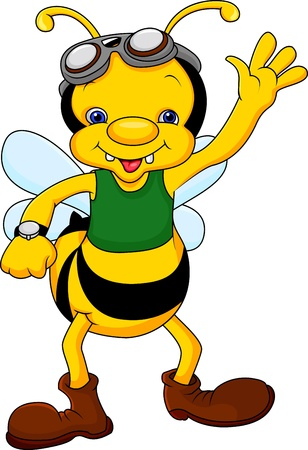 fly cartoon: Cute bee cartoon waving