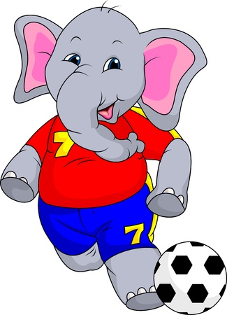elefant: fuuny Elefantkarikatur mit Ball