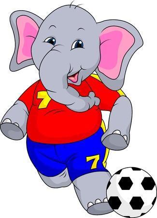 fuuny olifantscartoon met bal Stock Illustratie