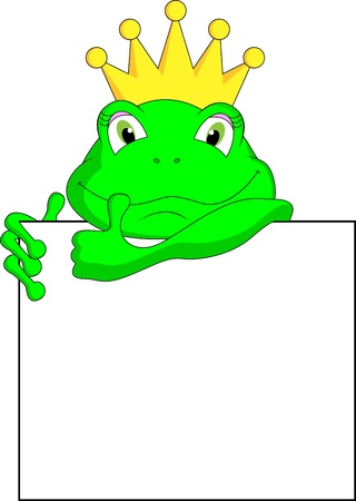 regards: frog with blank sign